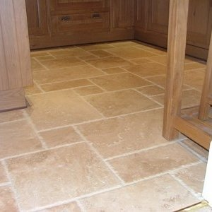 Light Travertine French Pattern Antiqued Chipped Edge
