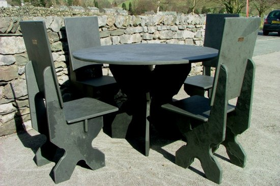 Round Black Slate Table